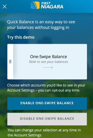 my set One-Swipe Balance